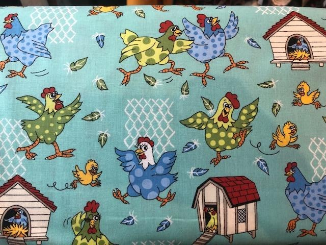 Quilting Cotton  - Farm Friends Chickens - 1/2 meter