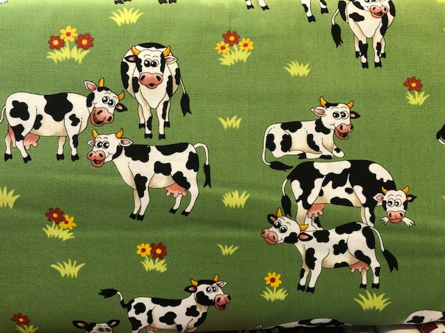 Quilting Cotton  - Farm Friends Cows - 1/2 meter