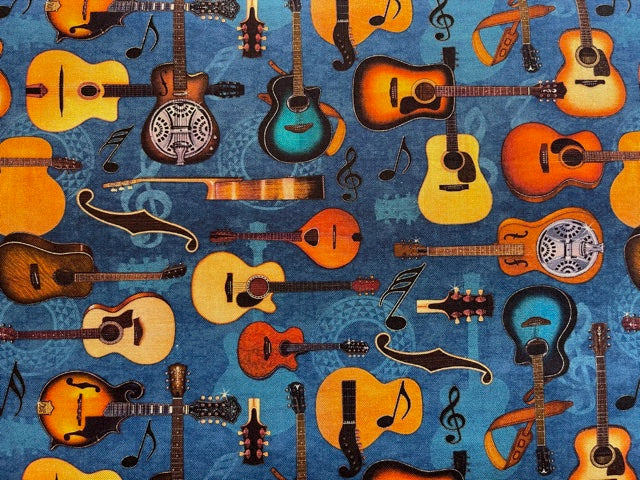 Quilting Cotton  - Guitars blue  - 1/2 meter