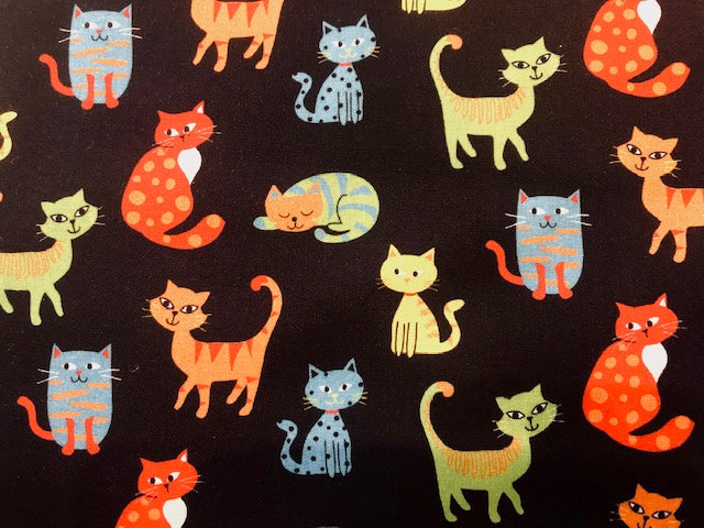 Quilting Cotton  - Happy Cats - 1/2 meter