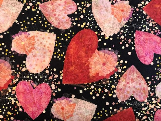 Quilting Cotton  - Hearts - 1/2 meter