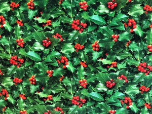 Quilting Cotton  - Holiday Holly bush - 1/2 meter