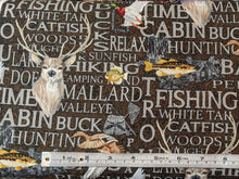 Load image into Gallery viewer, Quilting Cotton - Fishing and Hunting Words - Brown - 1/2 metre