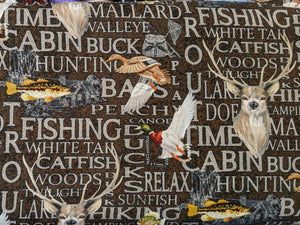 Quilting Cotton - Fishing and Hunting Words - Brown - 1/2 metre