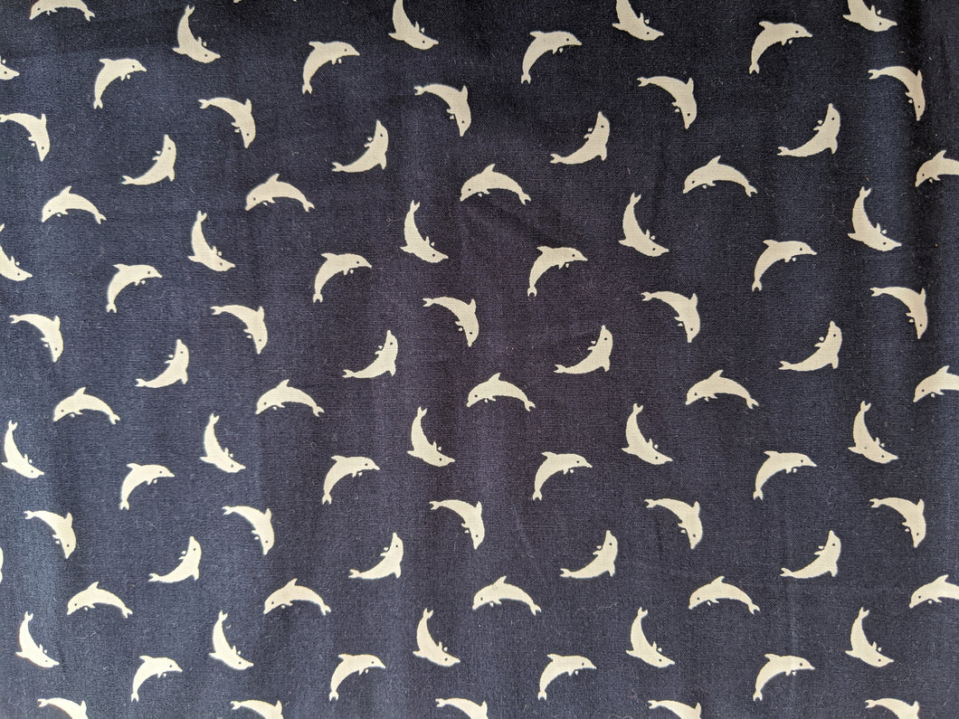 Quilting Cotton - Dolphin - Navy  - 1/2 metre