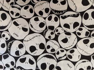 Quilting Cotton - Jack Skeleton - Black - 1/2 meter
