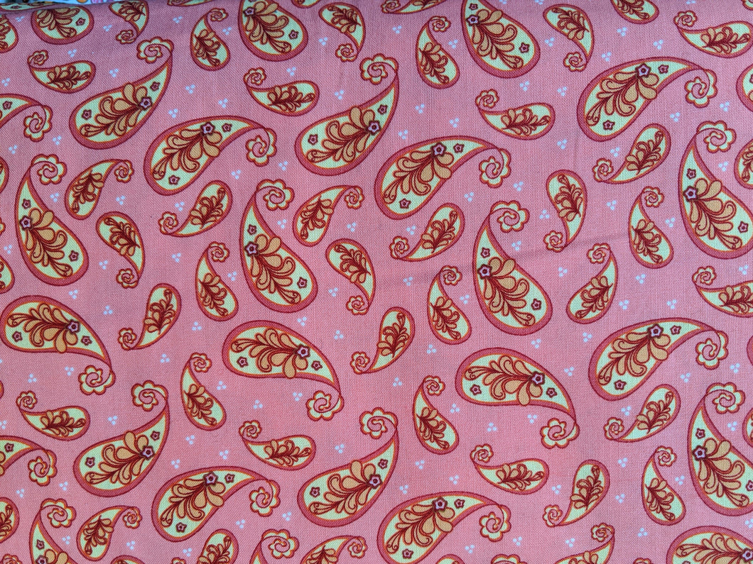 Quilting Cotton - Paisley - Pink - 1/2 metre