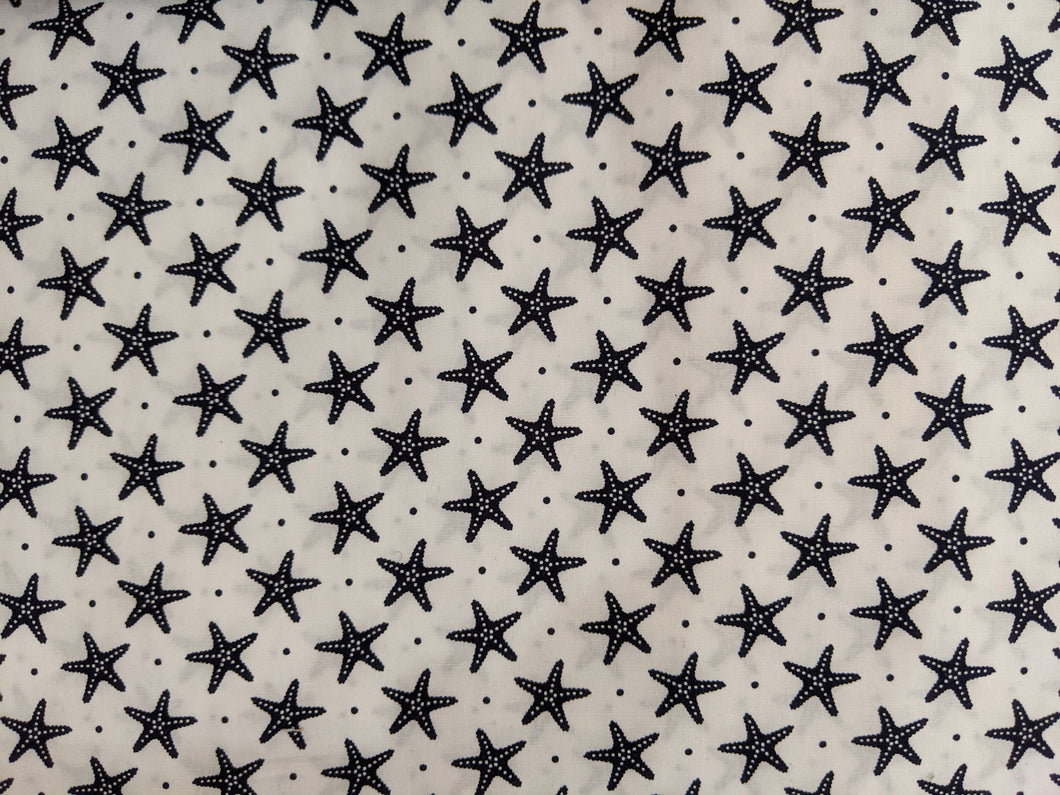 Quilting Cotton - Starfish - White - 1/2 metre