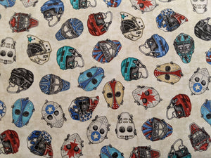 Quilting Cotton - Hockey Masks - Beige - 1/2 metre