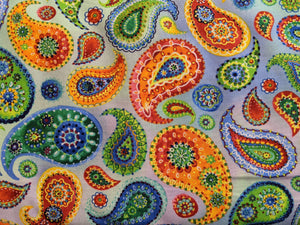 Quilting Cotton - Multi Coloured Paisley - Cream - 1/2 metre