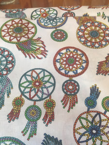 Quilting Cotton - Multi Coloured Dream Catchers - Cream - 1/2 metre