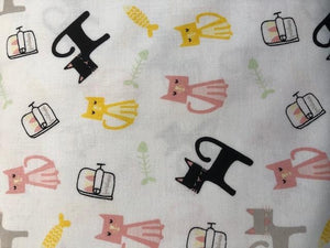 Quilting Cotton -Cats and Fish Bones - White - 1/2 metre