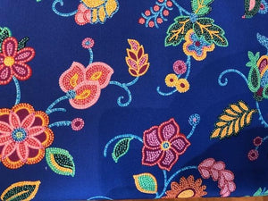 Quilting Cotton  - Beaded Floral - Royal Blue - 1/2 meter