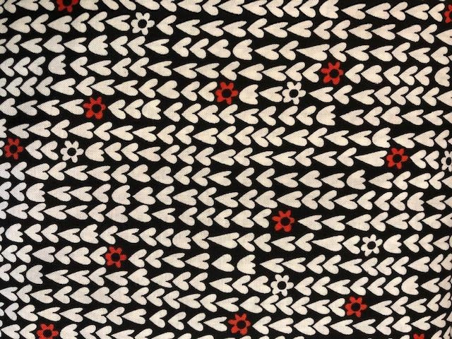 Quilting Cotton -White Hearts - Black - 1/2 metre