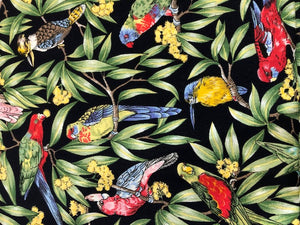 Quilting Cotton - Tropical Birds  - Black - 1/2 metre