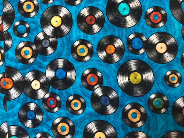 Quilting Cotton  - Records - Blue - 1/2 meter