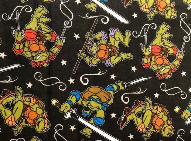 Quilting Cotton - Ninja Turtles - Black - 1/2 metre