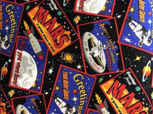 Quilting Cotton - Mars - Black - 1/2 metre