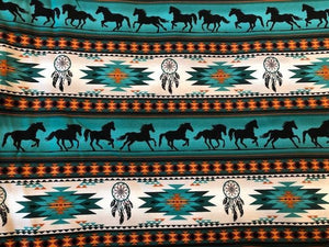 Quilting Cotton  - Wild Horses - Blue - 1/2 meter