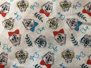 Quilting Cotton  - Chip & Dale  - White - 1/2 meter