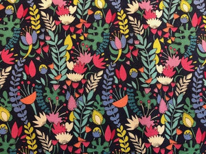Quilting Cotton - Garden Flowers - Black - 1/2 meter