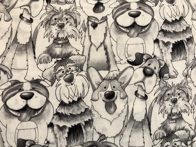 Quilting Cotton - Dogs - Black and White - 1/2 meter