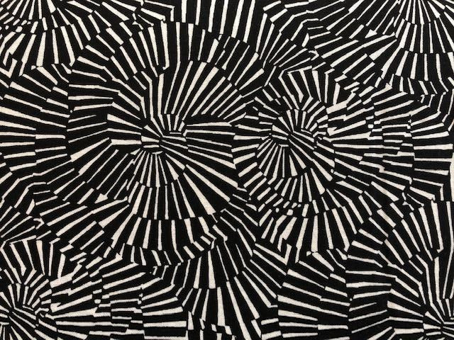 Quilting Cotton - Black and White Swirl - 1/2 meter