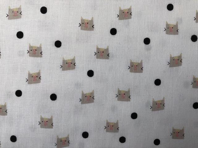 Quilting Cotton -Cats - White - 1/2 metre