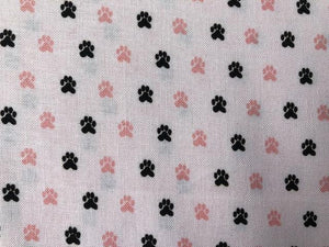 Quilting Cotton - Paw Prints - White and Pink - 1/2 metre