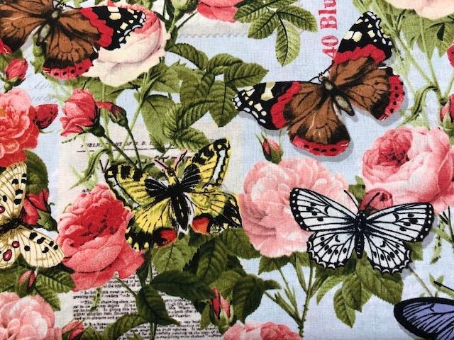 Quilting Cotton - Butterflies - Light Blue - 1/2 metre