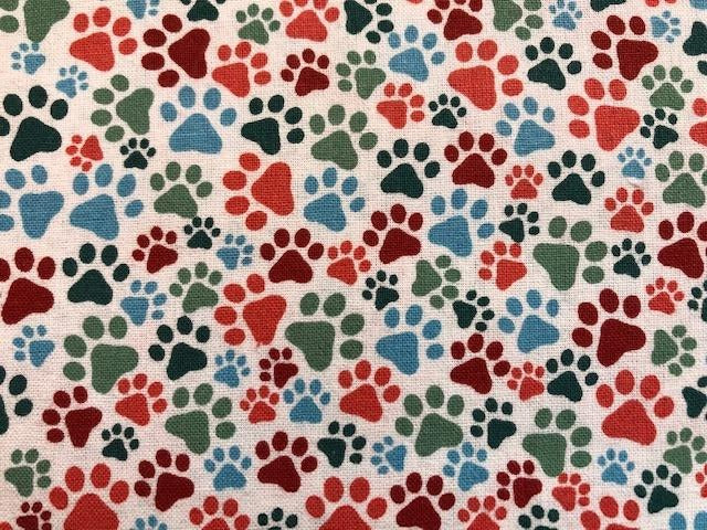 Quilting Cotton - Paw Prints - White - 1/2 metre