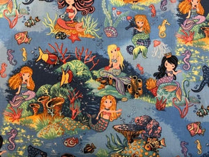 Quilting Cotton - Mermaids - 1/2 metre