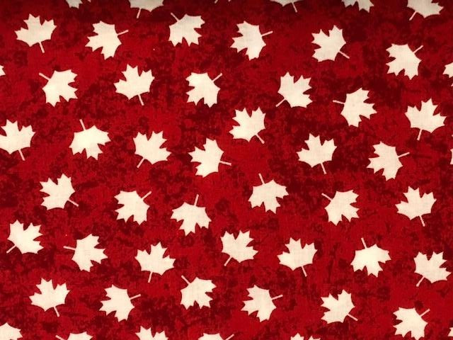 Quilting Cotton  - Oh Canada red background - 1/2 meter