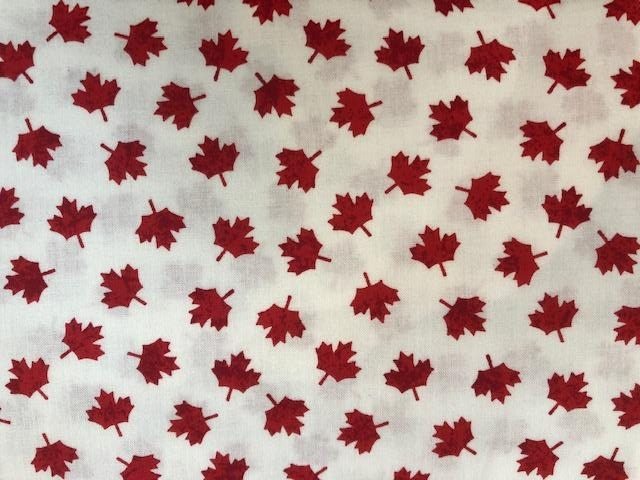 Quilting Cotton  - Oh Canada White background - 1/2 meter