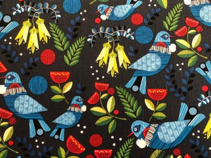 Quilting Cotton - Retro birds black- 1/2 metre