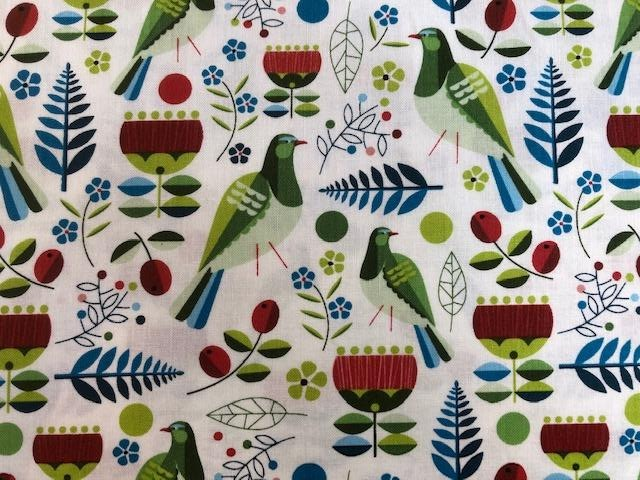 Quilting Cotton - Retro birds white- 1/2 metre