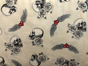 Quilting Cotton -  Skulls and Roses - 1/2 metre