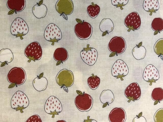 Quilting Cotton - Strawberries white- 1/2 metre