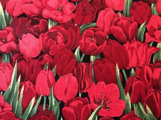 Quilting Cotton - Tulips red - 1/2 metre