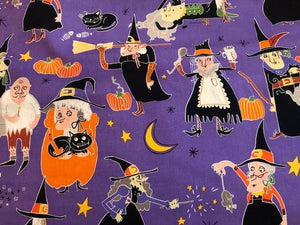 Quilting Cotton  - Witches Halloween - 1/2 meter