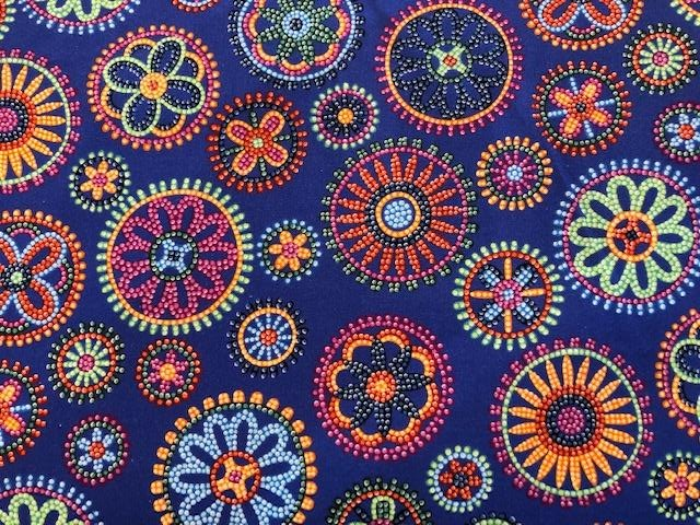 Quilting Cotton  - Beaded Floral - Purple - 1/2 meter