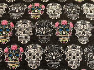 Quilting Cotton  - Candy Skulls - Brown- 1/2 meter