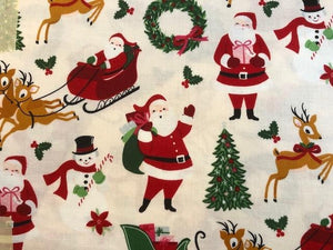 Quilting Cotton - Christmas Santa - 1/2 meter