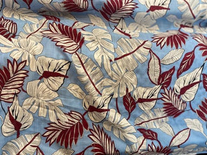 Cotton Lawn Print  - blue/burgundy - 1/2 meter