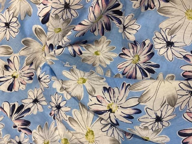Cotton Lawn Print  - blue/white - 1/2 meter