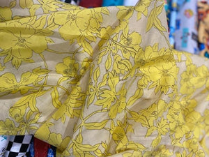 Cotton Lawn Print  - Yellow flower - 1/2 meter