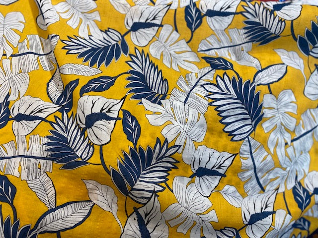 Cotton Lawn Print  - yellow/navy - 1/2 meter