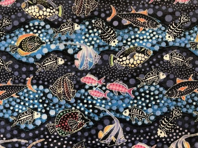 Quilting Cotton - Fish Fossils  - 1/2 metre