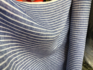 Linen Stripes - navy - 1/2 metre