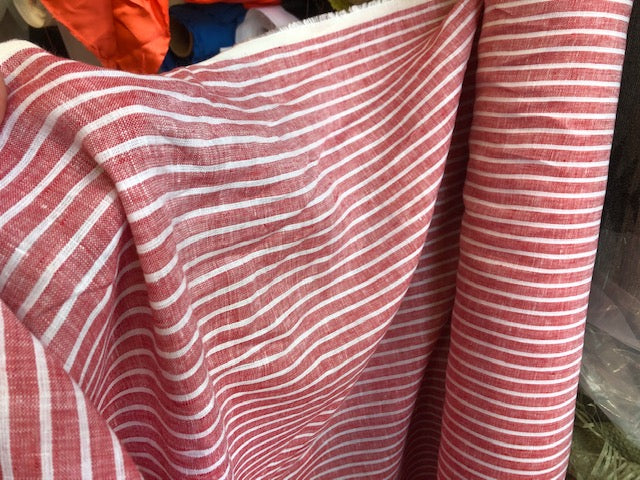Linen Stripes - red - 1/2 metre